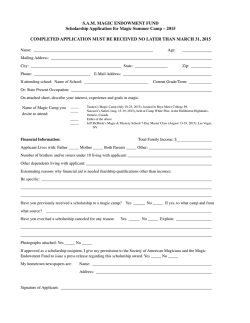Camp Scholarship Form 2015 - The Society of American Magicians