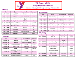 February Group Exercise Schedule - Tri
