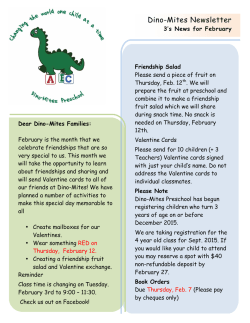Dino-Mites Newsletter - Dino-Mites Preschool Changing The World