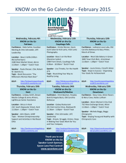 KNOW on the Go Calendar - February 2015