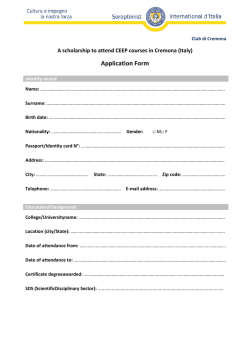 Application Form - Soroptimist Club di Cremona