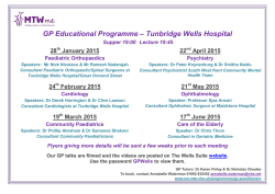 GP Educational Programme – Tunbridge Wells Hospital