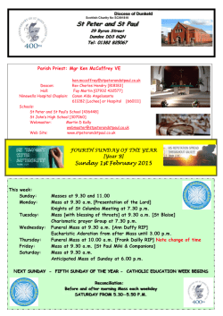 Current Newsletter - St Peter and St Paul