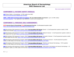 American Board Of Dermatology MOC Resource List