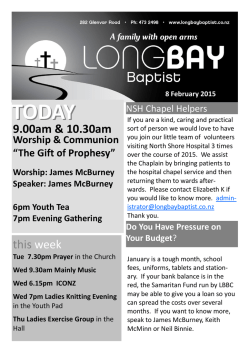 Read this weeks bulletin - Long Bay Baptist Church