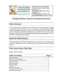 INTERNATIONAL TRAVEL INSURANCE POLICY Policy Statement