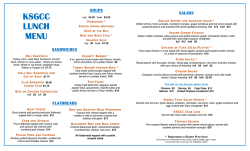 lunch menu January 2015
