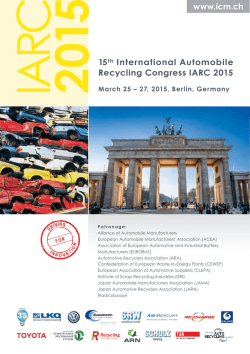 2015 15th International Automobile Recycling Congress IARC 2015