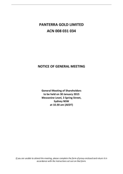 Notice of General Meeting - Friday 30 January 2015