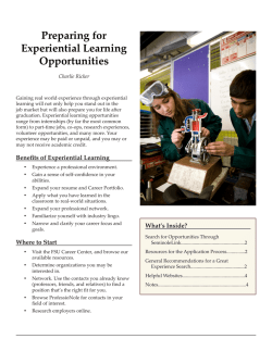 Preparing for Experiential Learning Opportunities