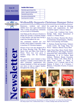 quarterly newsletter. - Community Links Wollondilly