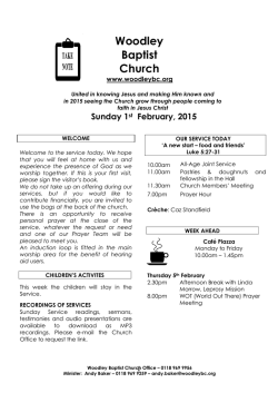 1 st February - Woodley Baptist Church