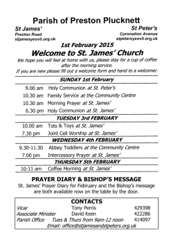 Weekly Notice Sheet - St James and St Peters, Parish of Preston
