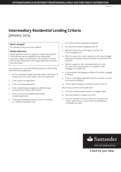 Lending Criteria - Santander for Intermediaries