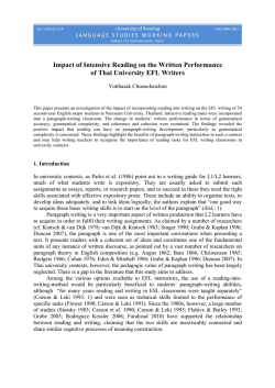 Impact of Intensive Reading on the Written Performance of Thai