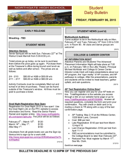 Daily Bulletin - Northgate High School Parents Faculty Association