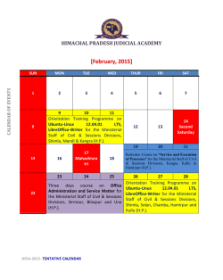 Calendar of events for January - Himachal Pradesh Judicial Academy
