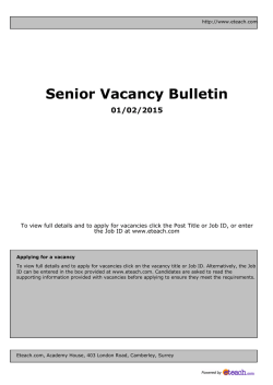 Senior Vacancy Bulletin 01/02/2015