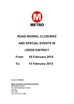 Leeds: roadworks, road closures and special events (pdf)