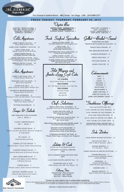 Dinner Menu - The Oceanaire Seafood Room