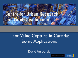 Land Value Capture in Canada: Some Applications
