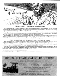This week`s bulletin - Queen of Peace Catholic Church