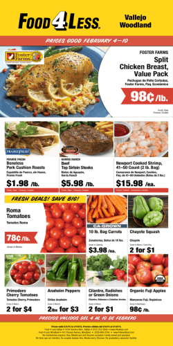 98¢/lb. - Food 4 Less Vallejo