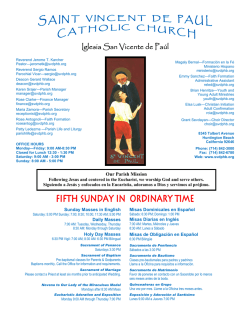 sunday bulletin newsletter - Saint Vincent de Paul Catholic Church