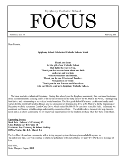 focus newsletter - Epiphany Catholic School