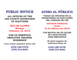 PUBLIC NOTICE - Lee County Supervisor of Elections