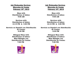 Ash Wednesday Services Miercoles de Ceniza February 18th, 2015