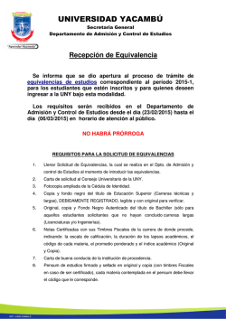 Requisitos para la Solicitud de Equivalencia