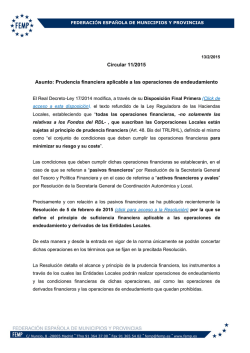 Circular 11/2015 Asunto: Prudencia financiera aplicable a