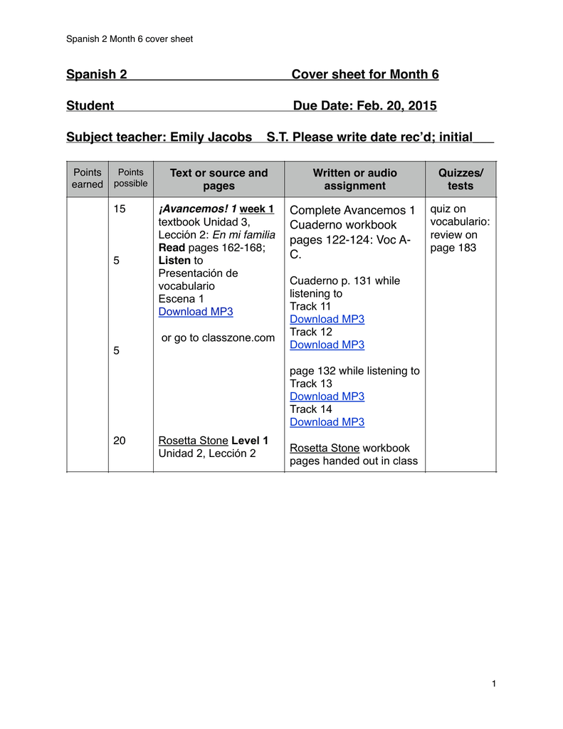 Spanish 2 Cover sheet for Month 6 Student Due Date: Feb. 20, 2015