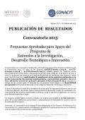 PUBLICACIÓN DE RESULTADOS Convocatoria 2015