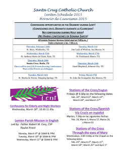 Santa Cruz Catholic Church Lenten Schedule 2015 Horario de