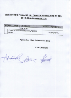 RESULTADO FINAL DE LA CONVOCATORIA CAS