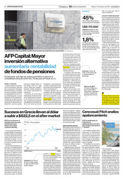 AFP Capital: Mayor inversión alternativa aumentaría