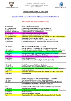Calendario Escolar IDFS - Instituto Domingo F. Sarmiento