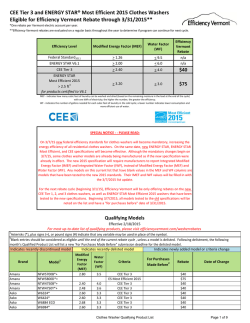 CEE Tier 3 and ENERGY STAR® Most Efficient 2015 Clothes