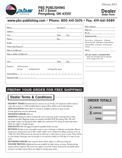 Order Form - PBS Publishing
