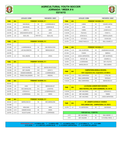 AGRICULTURAL YOUTH SOCCER JORNADA / WEEK # 7 03/21/15