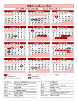 School Year Calendar Template - Jefferson West