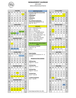 MANAGEMENT CALENDAR - Selma Unified School District