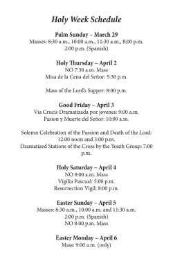 Holy Week Schedule - Saint Thomas More Parish