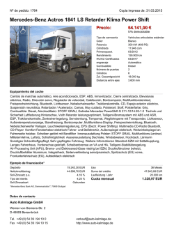 Mercedes-Benz Actros 1841 LS Retarder Klima Power Shift Precio