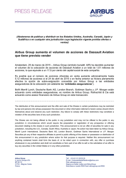 Airbus Group aumenta el volumen de acciones de Dassault Aviation