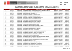 SUJETOS INSCRITOS EN EL REGISTRO DE SANEAMIENTO