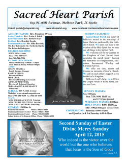 April 12, 2015 - Sacred Heart Parish