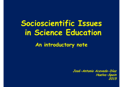 Socioscientific Issues in Science Education